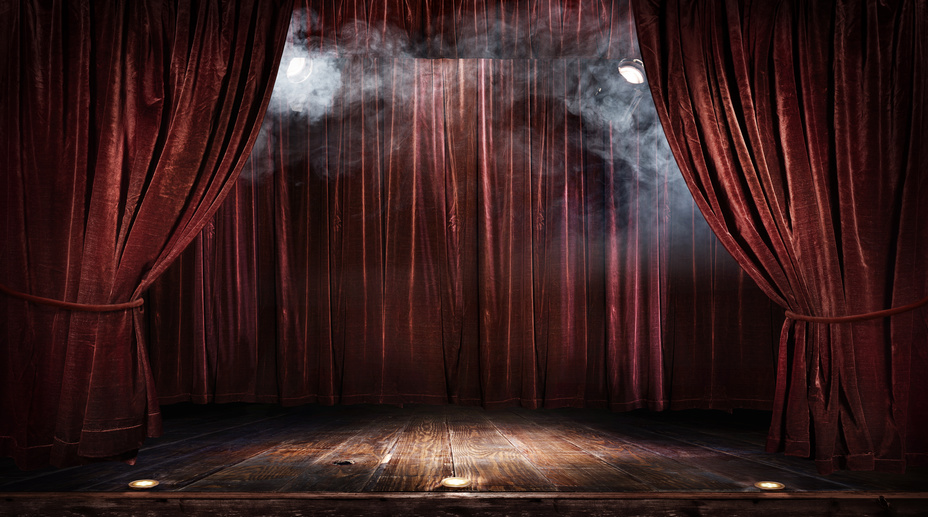 Magic theater stage red curtains Show Spotlight